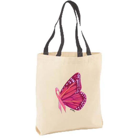 Pink Ribbon Butterfly Tote Bag