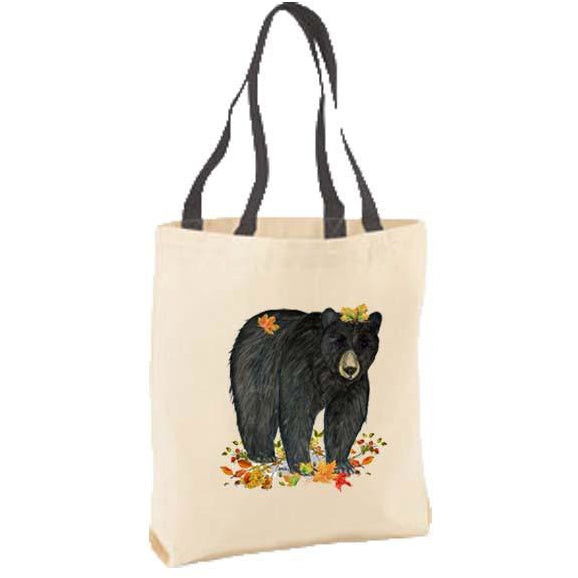 Black Bear with Leaves Tote Bag