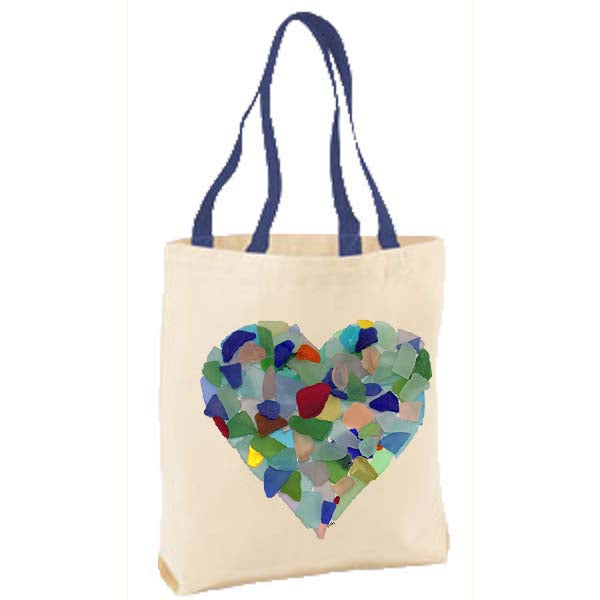 Sea Glass Heart Tote Bag