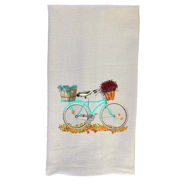 Teal Bike Bushel Basket Kitchen Towel