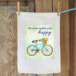 Teal Bike - Do What Makes You Happy Flour Sack Towel