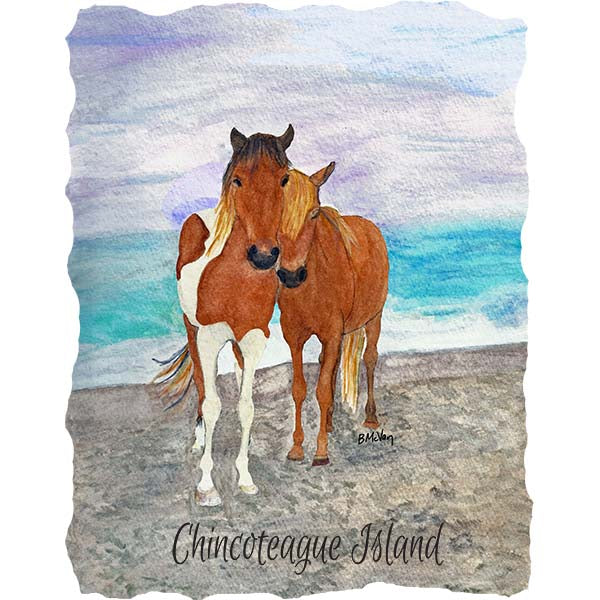 Two Ponies on the Beach-Chincoteague Wall Art