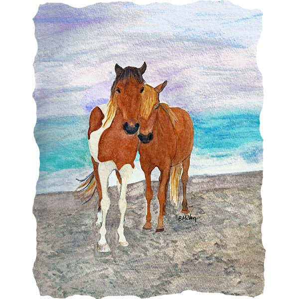 Two Ponies on the Beach Wall Art