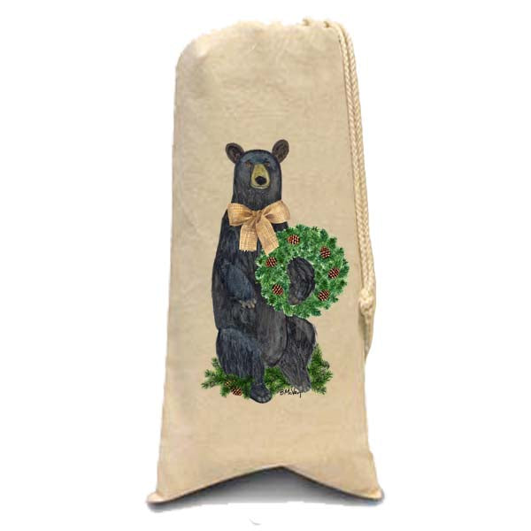Bear Evergreen Wreath Wine Bag