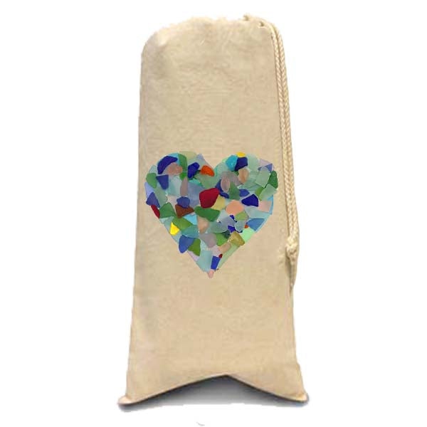 Sea Glass Heart Wine Bag
