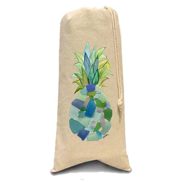 Sea Glass Pineapple Wine Bag
