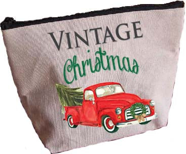 Red Truck-Vintage Christmas Large Zipper Pouch