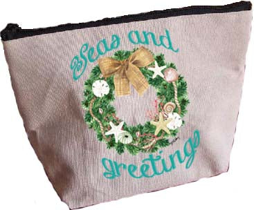 Florida Wreath-Seas & Greetings Large Zipper Pouch