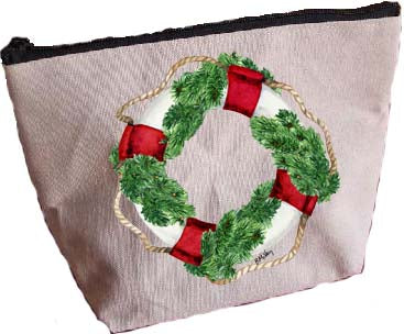 Life Ring Wreath Large Zipper Pouch