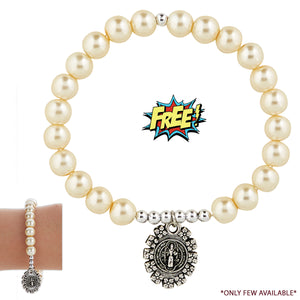 FREE St. Benedict Fancy Medal Stretch Bracelet