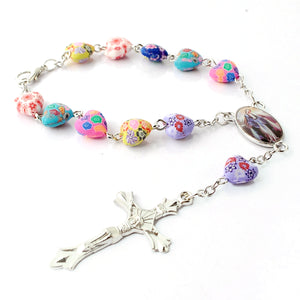 Miraculous Medal Heart Beads One Decade Rosary
