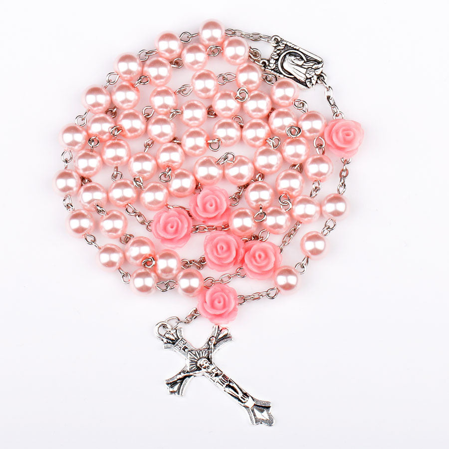 FREE Pink Rose Rosary with Lourdes Medal - Catholic E-Store