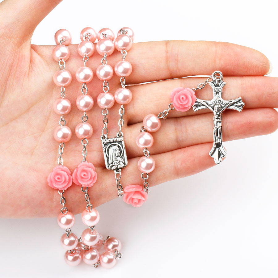 FREE Pink Rose Rosary with Lourdes Medal