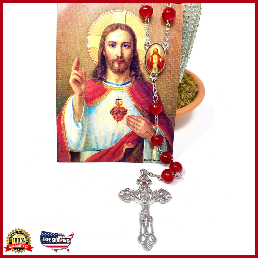 Sacred Heart Glass Rosary