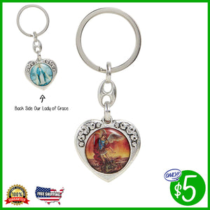 Our Lady of Grace/St. Michael Floral Heart Key Chain
