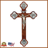 "12"" Holy Trinity Crucifix With Budded Cross"
