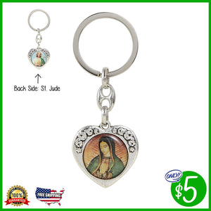 Our Lady of Guadalupe/St. Jude Floral Heart Key Chain