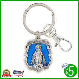 Our Lady of Grace Badge Key Chain w/Clip