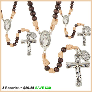Sleeping St. Joseph Corded Wood Rosary