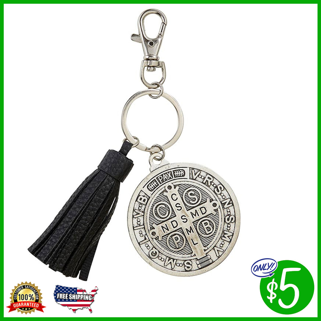 St. Benedict Key Chain with Tassel