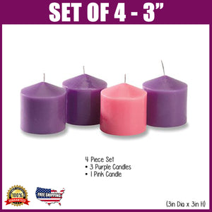 Advent Pillar Candle Set -3""