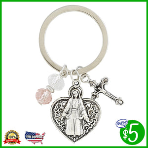 Madonna with Heart Key Chain