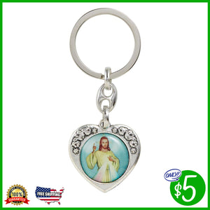 Divine Mercy/Jesus I Trust in You Floral Heart Key Chain