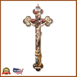 "13"" Mary And Holy Trinity Crucifix"