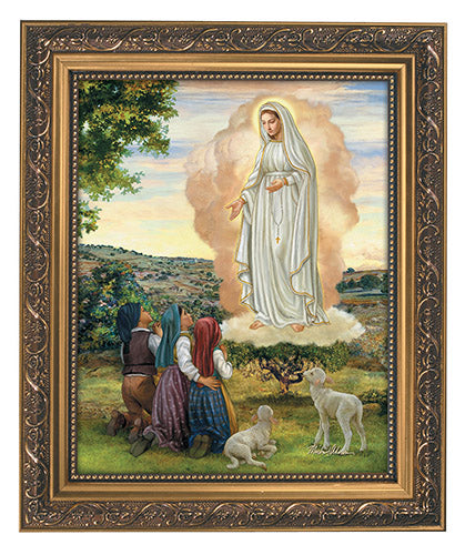 Our Lady Of Fatima Ornate Gold Finish Framed Print