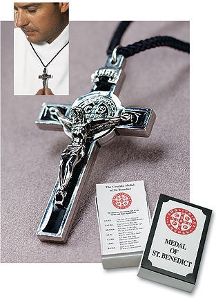 St Benedict Pendant on Cord with Gift Box