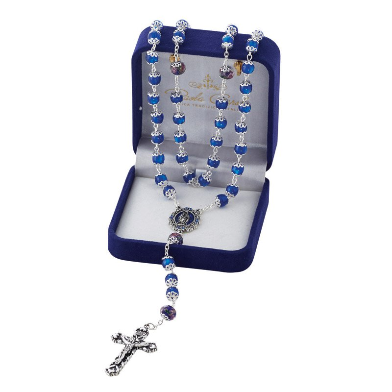 8mm Miraculous Mary Rosary - Sapphire w/ Gift Box