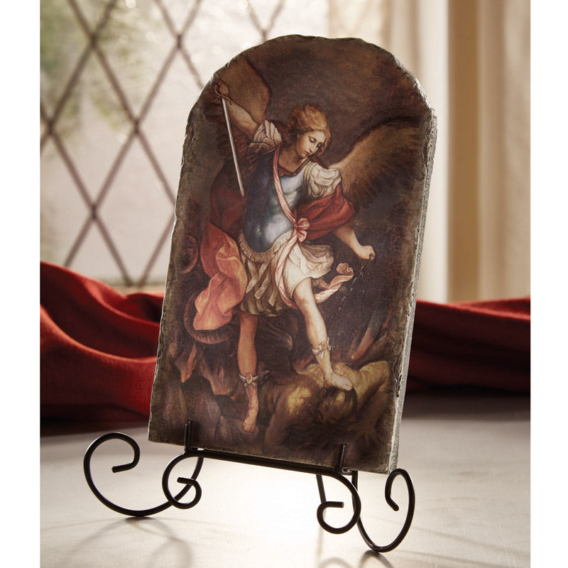 Marco Sevelli Arched Tile Plaque With Stand - St. Michael