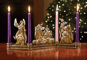 Metallic Nativity Candleholder