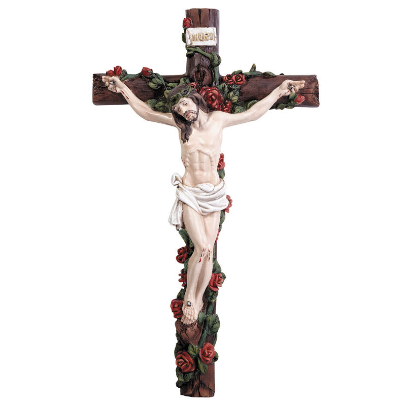"12.5"" Wall Crucifix with Roses"