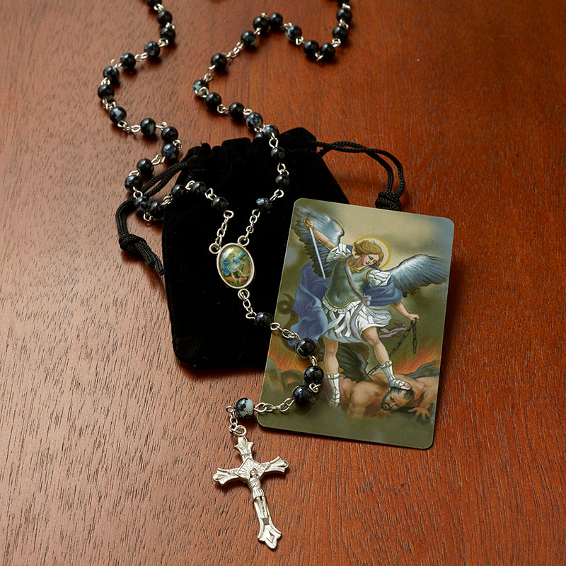 St. Michael Rosary with Velvet Case