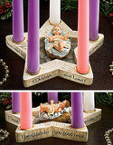 Star-Shaped Advent Wreath with Removable Baby Jesus