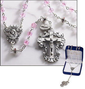 Pink Diamond-Cut Crystal Rosary