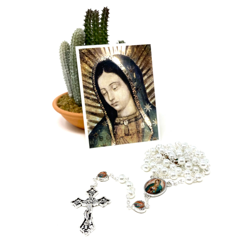 Our Lady of Guadalupe Pearl Rosary w/ Prayer Card