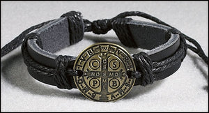 St. Benedict Medal Leather Bracelet