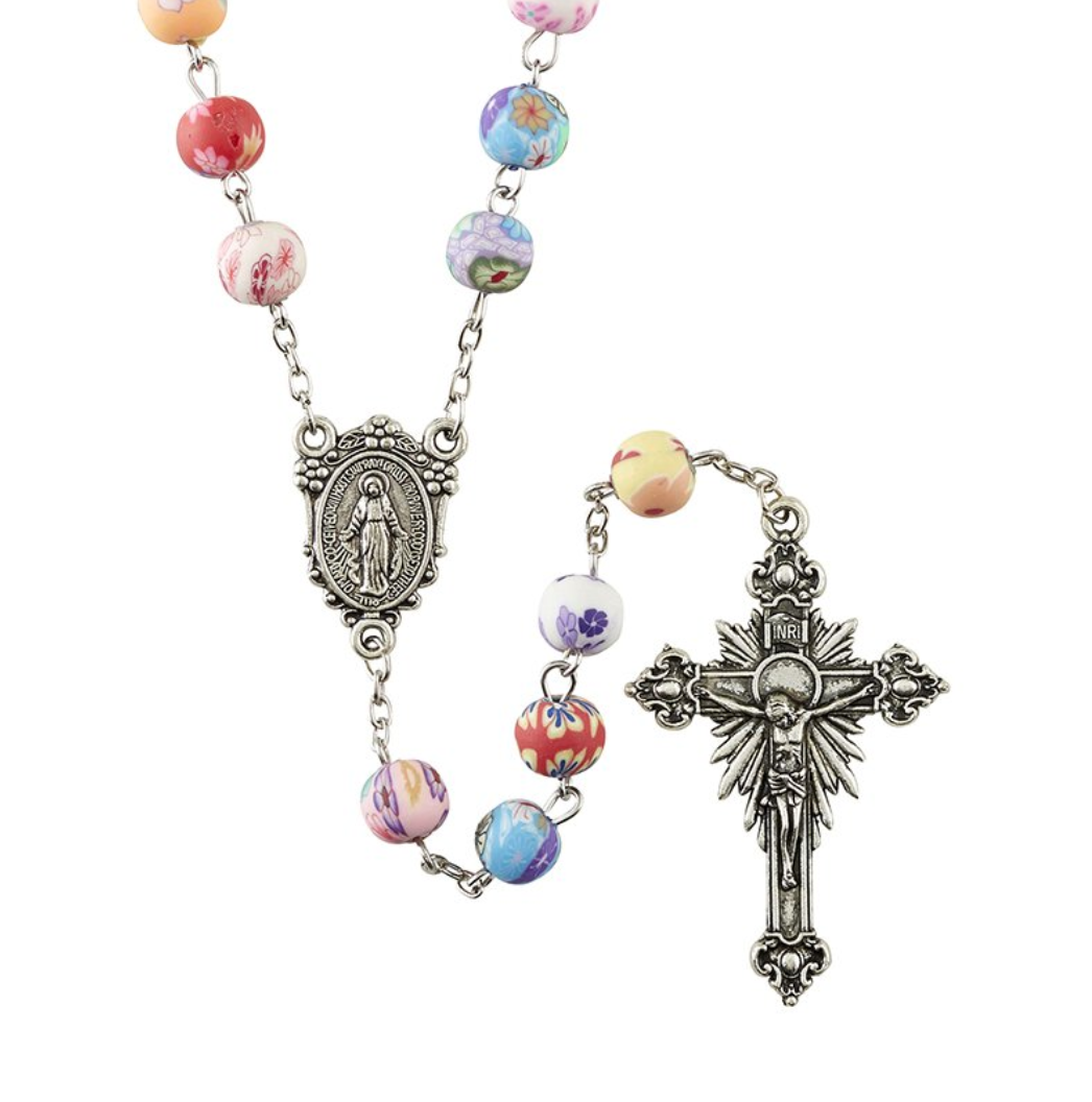FREE Colorful Flower Bead Rosary