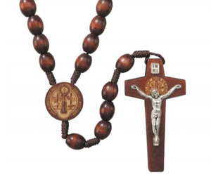 St. Benedict Laser Engraved Corded Wood Rosary