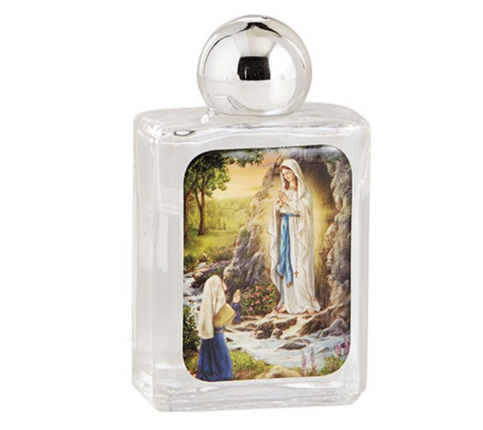 Our Lady of Lourdes Glass Holy Water Bottle