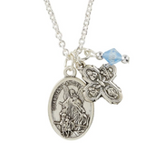 Guardian Angel/St. Michael Medal with Four Way Cross Pendant
