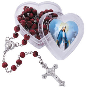 FREE Our Lady of Grace Rose Scented Rosary with Heart Case