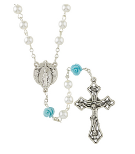 Blessed Mother Pearl & Rose Rosary