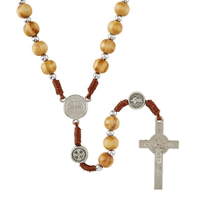 Olive Wood Finish St. Benedict Cord Rosary