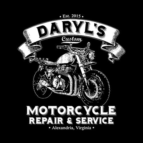 130626c03 Daryl's Custom Motorcycle Repair & Service T-Shirt - FiveFingerTees