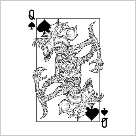 Alien Queen Of Spades T-Shirt - FiveFingerTees