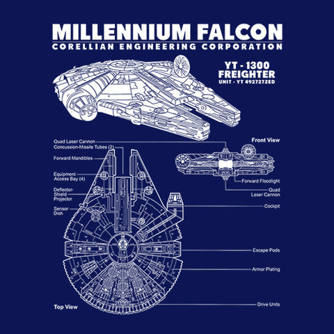 Millennium Falcon Blueprint T-Shirt