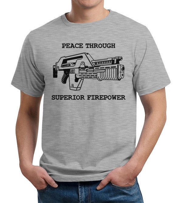 Peace Through Superior Firepower T-Shirt - FiveFingerTees